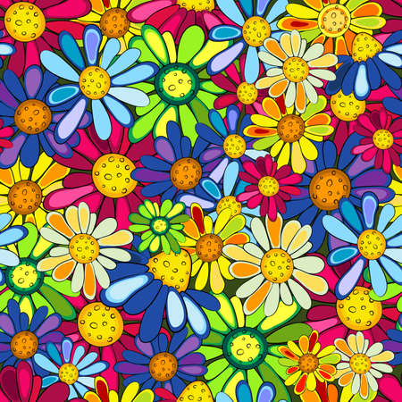 Floral seamless colorful vivid pattern with flowers (vector) Vector