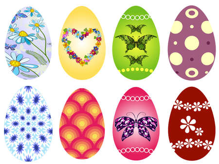 Collection colorful Easter`s eggs isolated on white background (vector) Vector