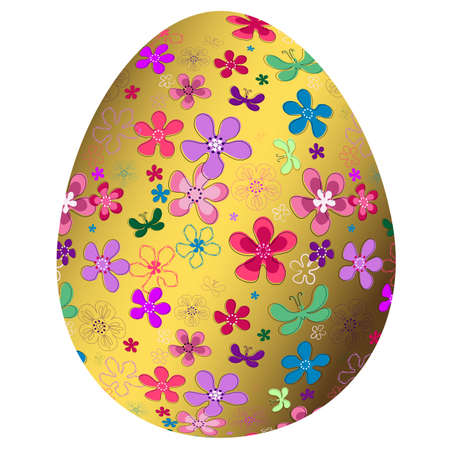 Big golden floral Easter`s egg isolated on white background (vector) Vector
