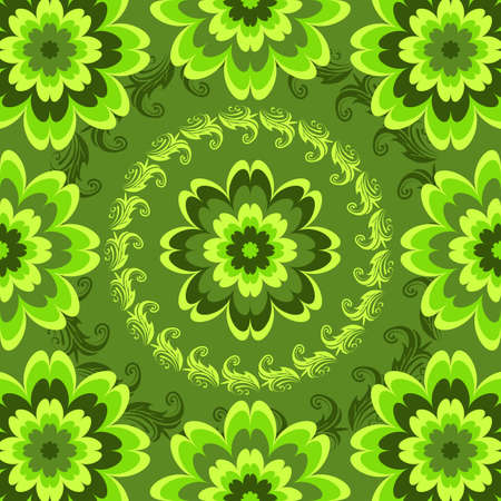persian green: Repeating green floral pattern with vivid flowers (vector)