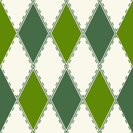 dark pastel green: Decorative pattern from green and white rhombuses. A seamless texture