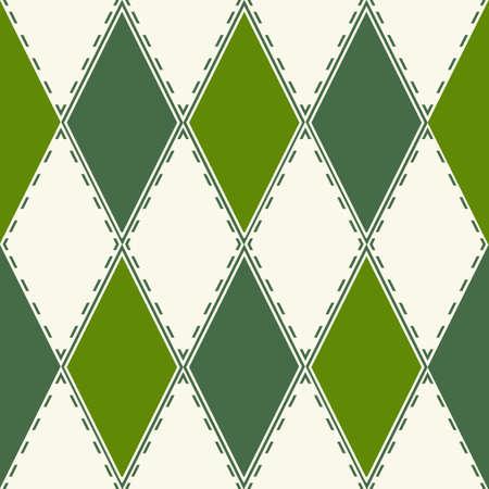 rayas de colores: Patrones decorativos de rombos verdes y blancos. Una textura transparente