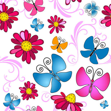pink butterfly: Floral seamless white pattern with vivid flowers and butterflies