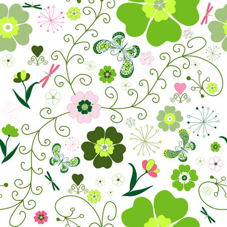 Floral seamless pattern with pink and green flowers and butterflies, dragonfly Vector