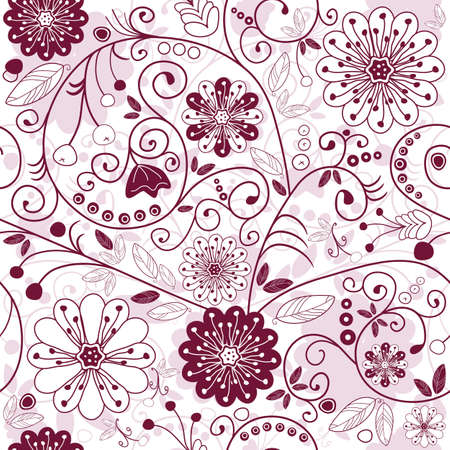 red floral: White and purple seamless floral pattern with flowers