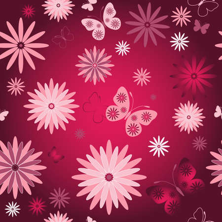 Red seamless floral  wallpaper with pink flowers and butterflies Vector