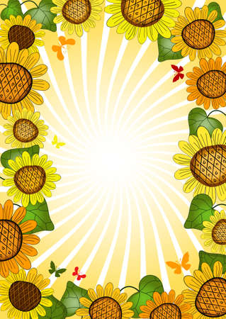 Vivid floral summer frame with sunflowers, rays and butterflies (vector) Vector