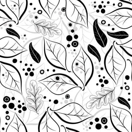 black berry: Seamless autumn floral white-black-grey pattern with leaves (vector)
