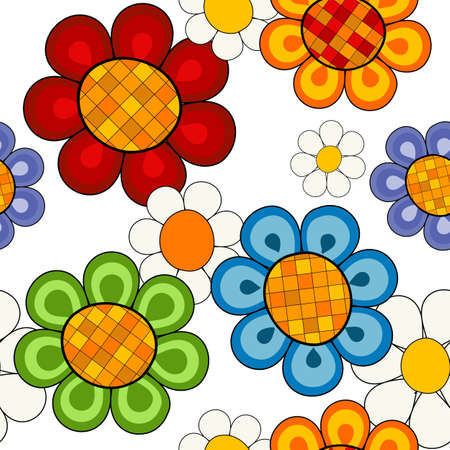 design floral: Effortless white floral pattern with vivid decorative flowers (vector)