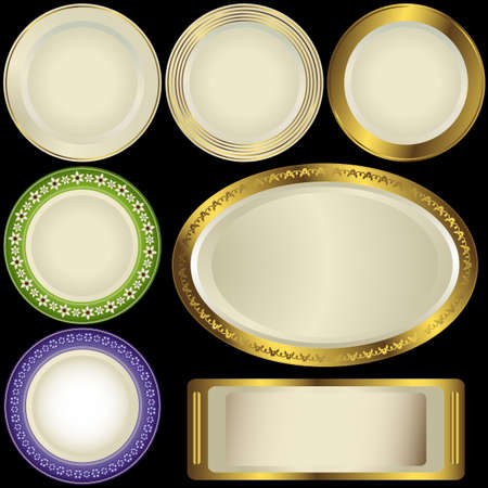 Set white plates with vintage ornament on black background (vector) Vector