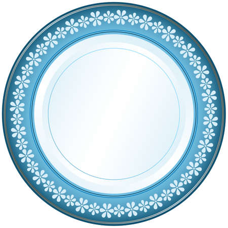 whiteblue: White-blue decorative plate with floral ornament on white (vector) Illustration