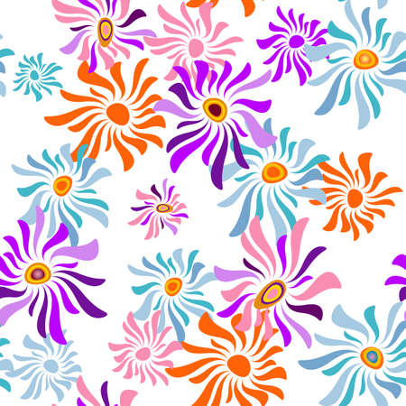 handwork: Floral white repeating pattern with colorful flowers (vector) Illustration