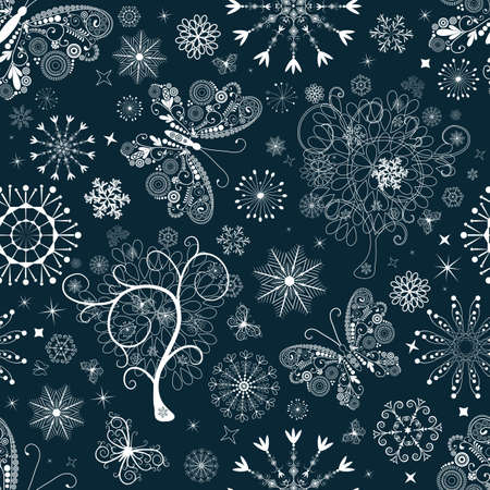 Dark blue Christmas repeating pattern with snowflakes and butterflies (vector) Vector
