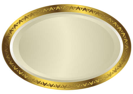 White-golden oval plate with floral ornament on white background Vector