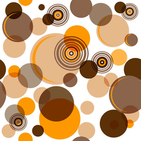 Abstract seamless pattern with chaotic brown balls and rings  Vector