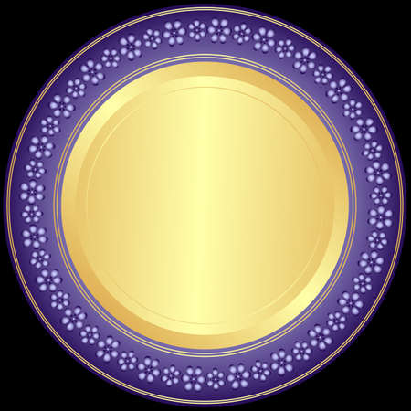 Violet-golden decorative plate with floral ornament on black  Vector
