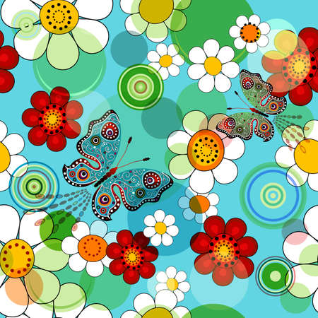 Vivid blue floral seamless pattern with flowers and butterflies  Vector