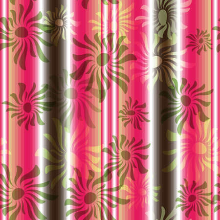 Pink-brown-white-green floral seamless striped pattern  Vector
