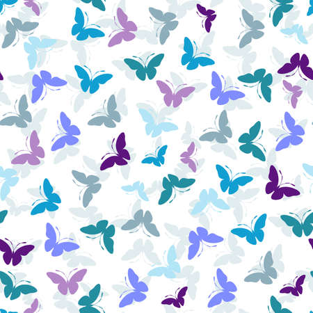 handwork: Seamless white pattern with blue and violet butterflies