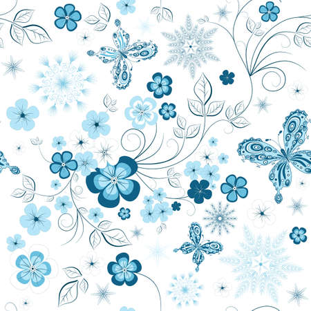 blue background pattern: White and blue winter repeating pattern with snowflakes, flowers and butterflies (vector) Illustration