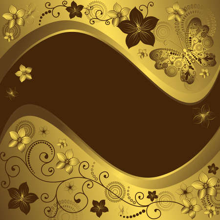 Decorative golden and brown vintage frame with flowers and butterflies (vector) Vector