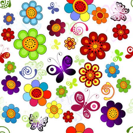 arco iris vector: Patr�n transparente floral de arco iris con flores y mariposas (vector)