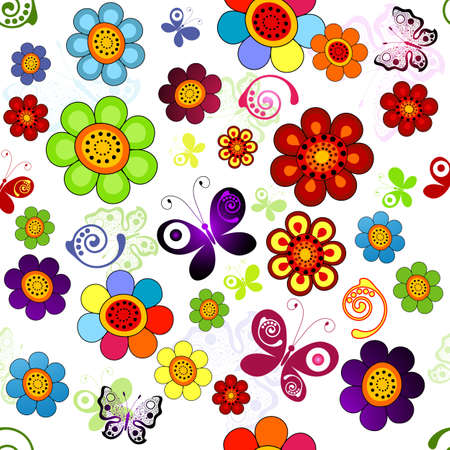 Rainbow floral seamless pattern with flowers and butterflies (vector)