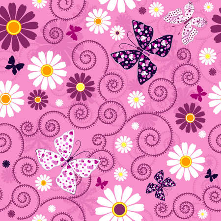 Pink seamless floral pattern with flowers and butterflies (vector) Vector