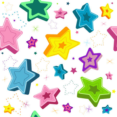 scattering: Seamless white pattern with pink, green, blue, yellow and violet stars (vector) Illustration