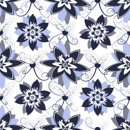 lilas: White seamless floral pattern with blue flowers Illustration