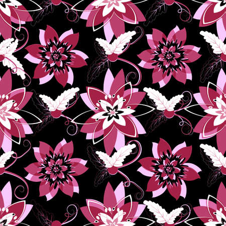 Black seamless floral pattern with purple flowers