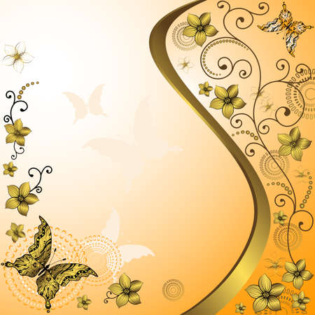 Orange and white vintage frame with gold flowers and butterflies  Vector