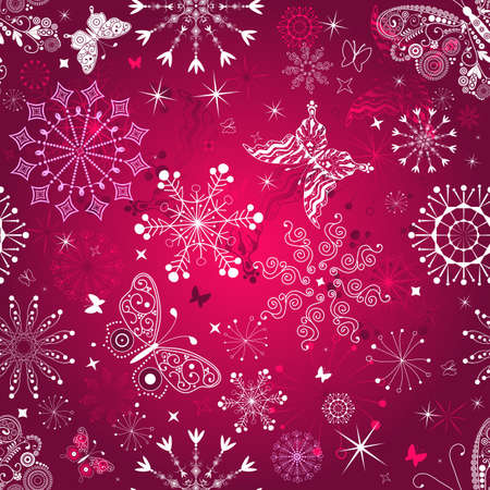 Seamless purple christmas pattern with snowflakes and butterflies Vector