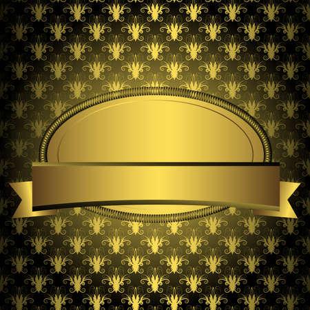 Oval golden frame with ribbon on vintage black background (vector) Vector