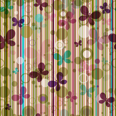 blue stripe: Striped seamless pattern with colorful butterflies (vector EPS 10)