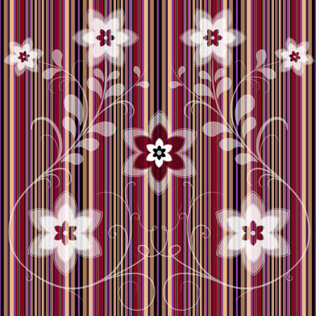 Striped floral seamless pattern with white flowers (vector EPS 10) Vector