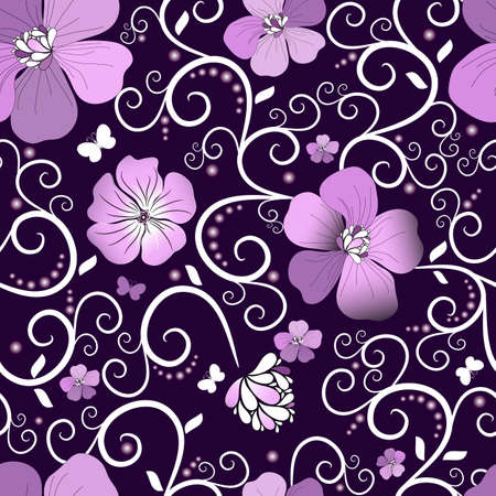 lilas: Dark violet seamless floral pattern with pink flowers and butterflies (vector)