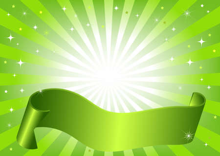Abstract green frame with rays, stars and wave ribbon (vector) Vector