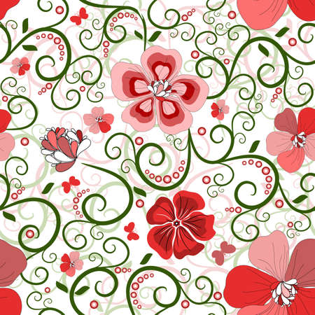 White seamless floral pattern with red-pink flowers (vector) Stock Vector - 10472957