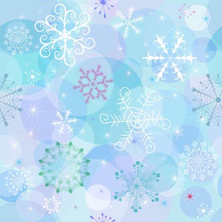 winter wallpaper: Papel tapiz de invierno sin fisuras con copos de nieve ca�ticas y pelotas (vectoriales EPS 10)