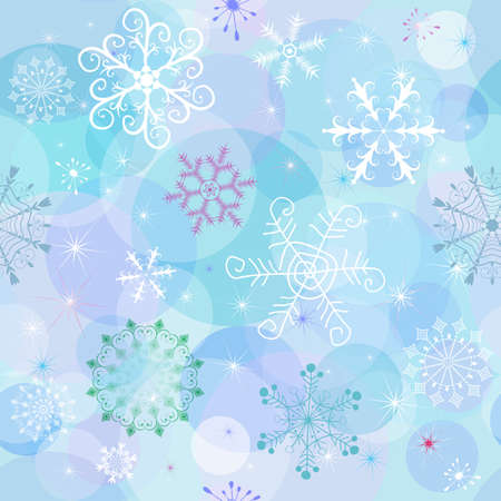 chaotic: Seamless winter wallpaper with chaotic snowflakes and balls (vector EPS 10)