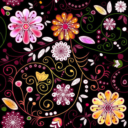 Seamless dark floral pattern with vivid flowers and curls (vector) Illustration
