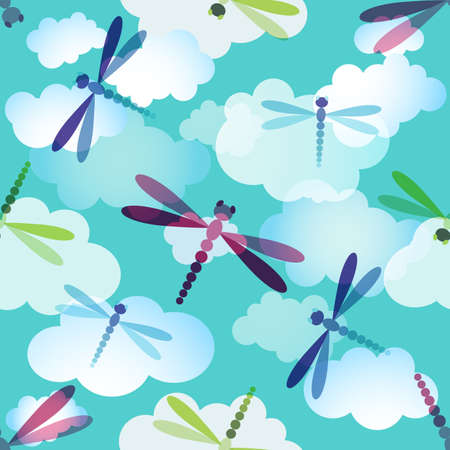 dragonflies: Spring seamless pattern with clouds and colorful dragonflies (vector EPS10)