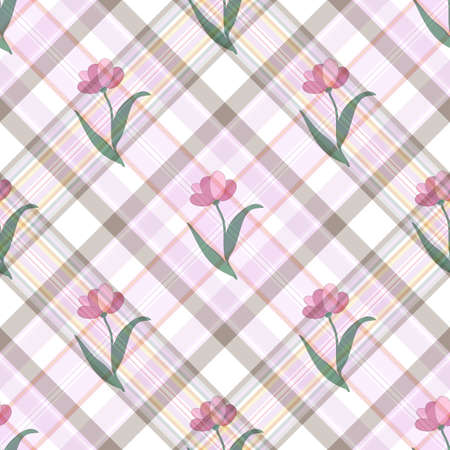 Seamless gentle floral diagonal checkered pattern (vector EPS 10) Illustration
