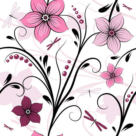 carve: White seamless floral pattern with pink-purple flowers and dragonflies (vector)