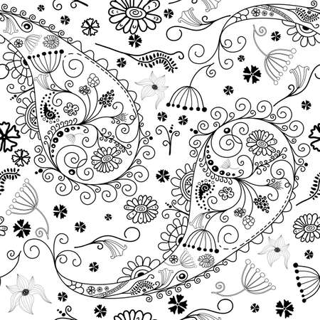 White and black seamless floral pattern with  paisley Vector