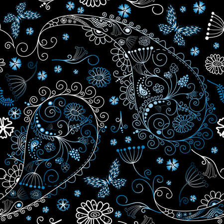 Black seamless floral pattern with paisley and butterflies  Vector