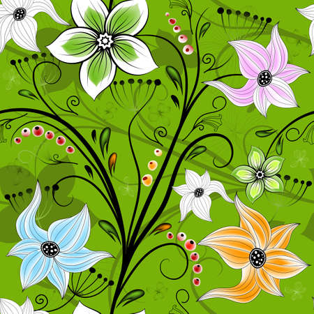 Seamless green floral wallpaper with colorful flowers and curls Vector
