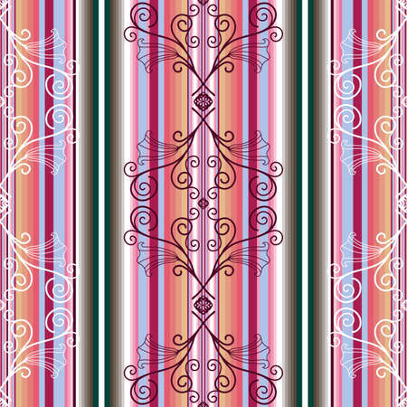 Striped seamless pattern with floral ornament (vector) Vector