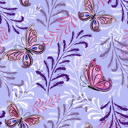 Gentle violet repeating floral pattern with pink-lilas leaves and butterflies Vector